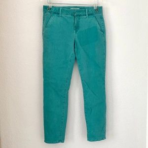 Fidelity Denim Quincy Teal Cropped Skinny Jeans